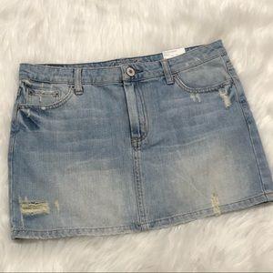 American Eagle destroyed denim mini skirt